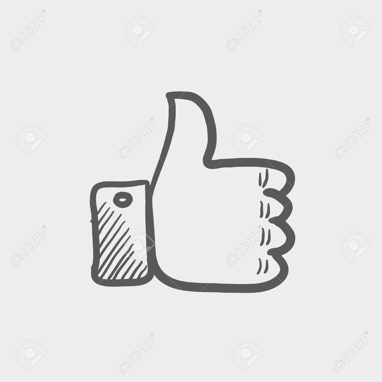 Thumbs up sketch icon for web and mobile. Hand drawn vector dark grey icon on light grey background. Banque d'images - 42981296