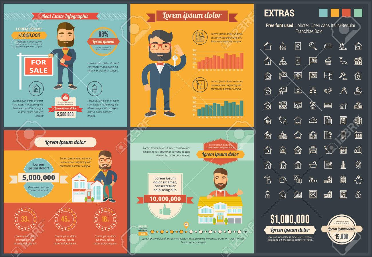 real estate infographic template and elements royalty free cliparts
