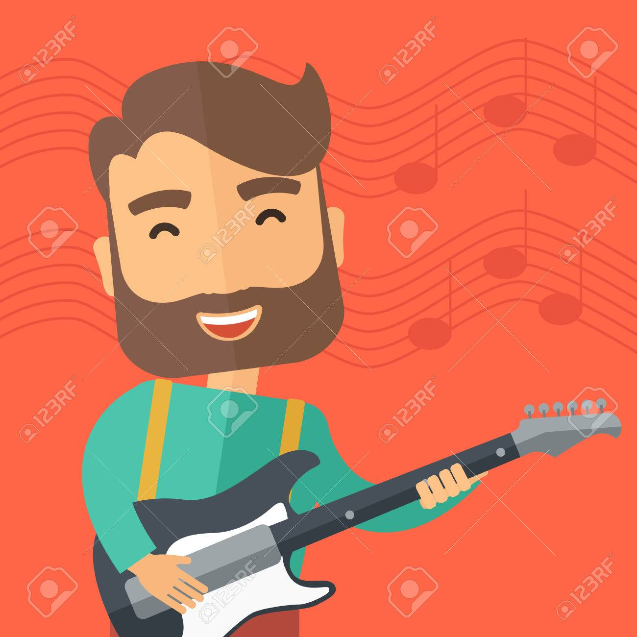A Singing Musician Playing Electric Guitar. Vector Flat Design ...