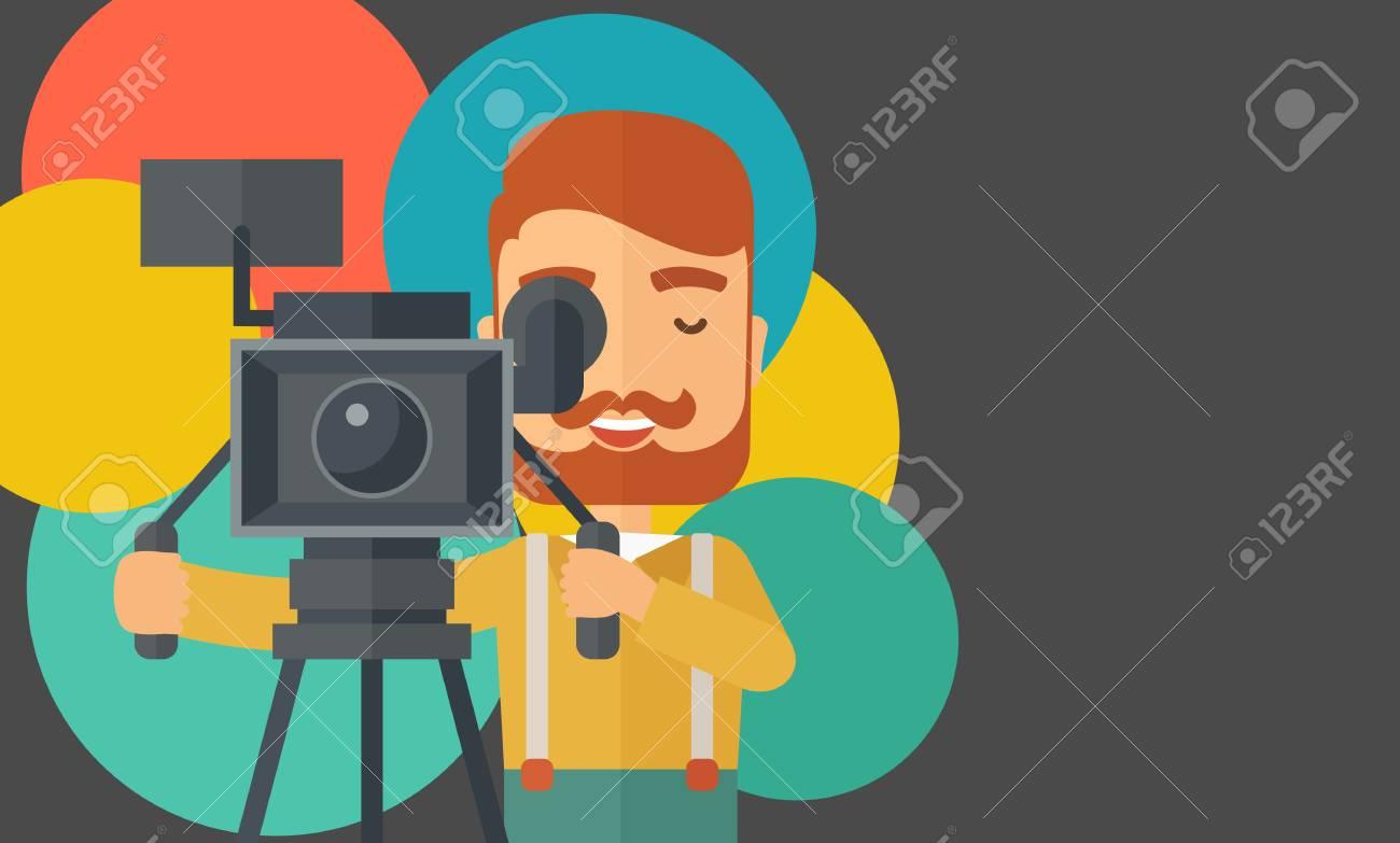 Ein Kaukasischer Videofilmer Ein Video Aufnehmen. Ein ...