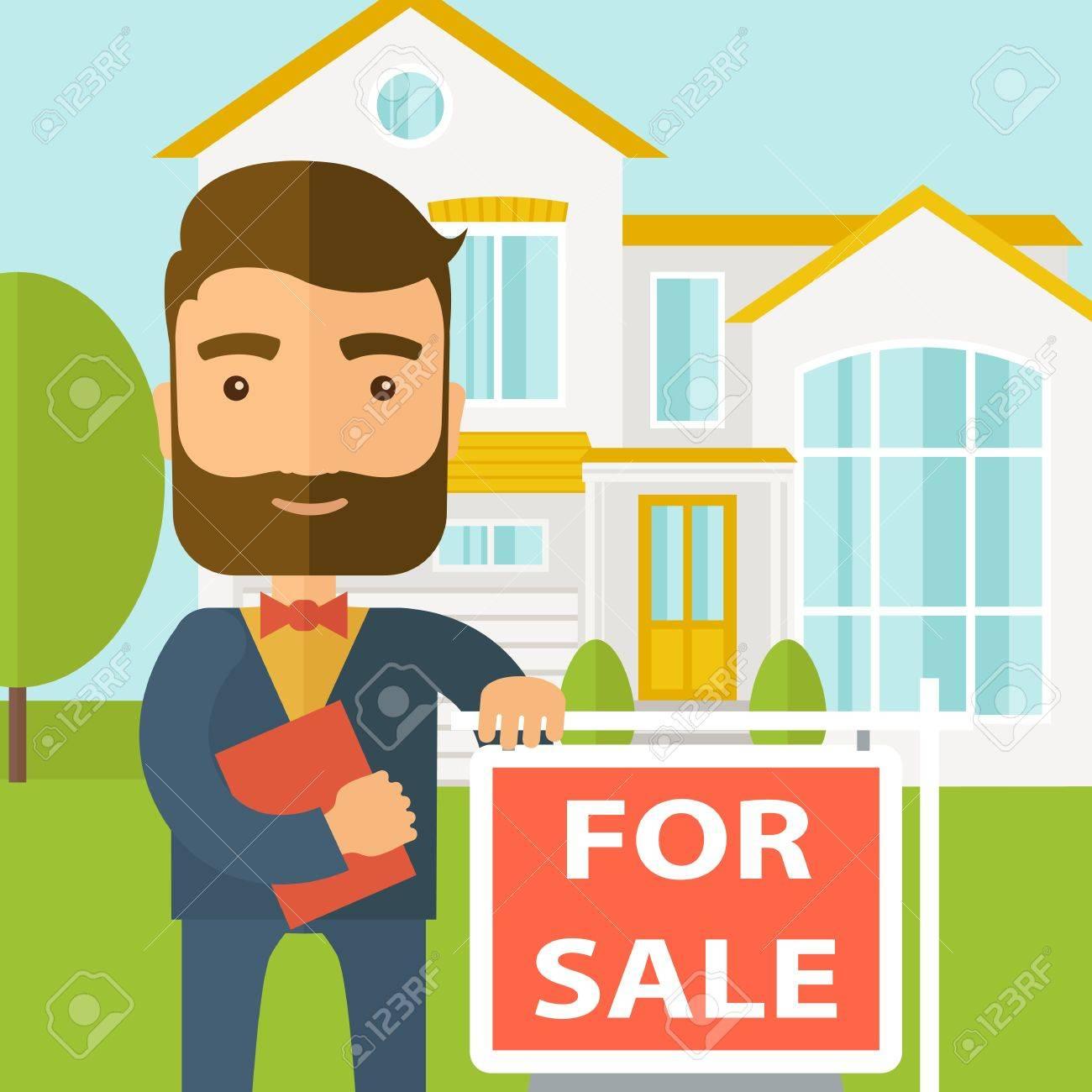 Ein Immobilienmakler, Der Das Dokument Für Das Zu Verkaufende Haus ...