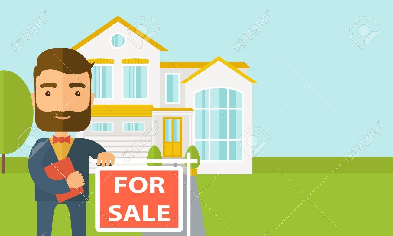 A real estate agent holding the document for the for sale house. Vector flat design illustration. Horizontal layout with text space in right side. Banque d'images - 44409823