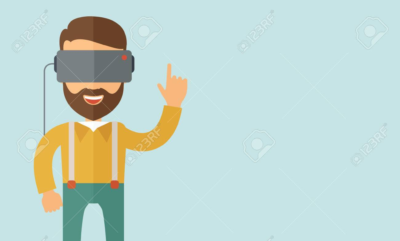 A man with isometric virtual reality headset. A Contemporary style with pastel palette, soft blue tinted background. Vector flat design illustration. Horizontal layout with text space in right side. Banque d'images - 44409826