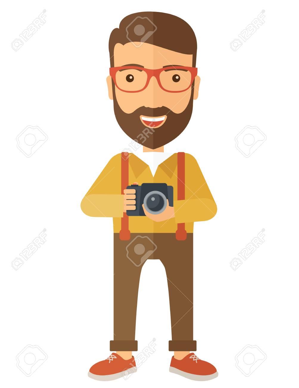 Ein Europäischer Fotografen Lächelnd, Während Seine Kamera Hält ...