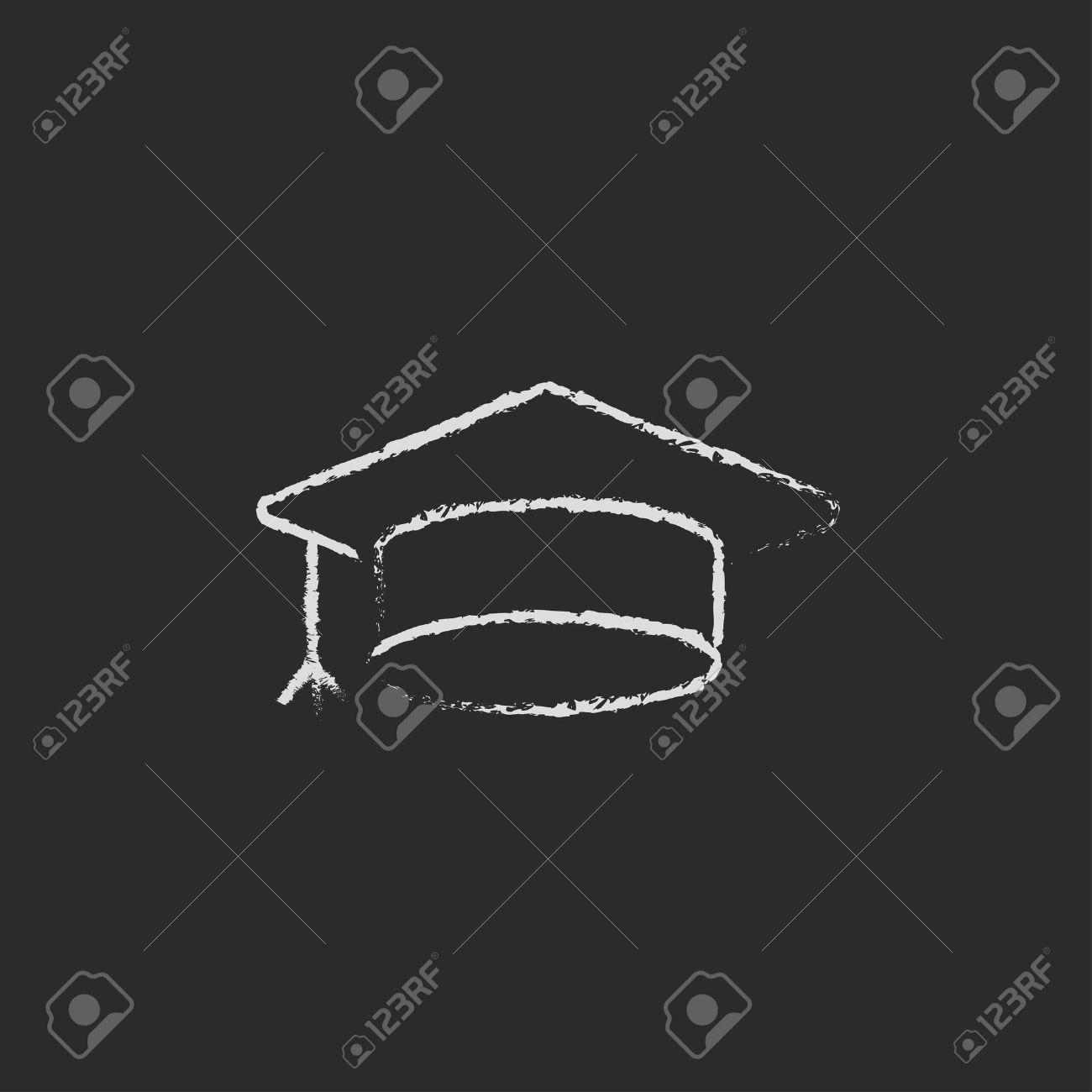 graduation cap dessiné à la main à la craie sur un vecteur icône blanche tableau noir isolé sur un fond noir. Banque d'images - 45319062