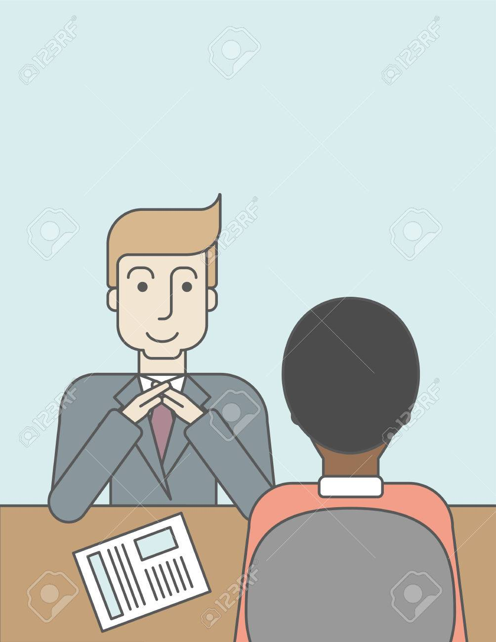 A Smiling Caucasian Human Resource Manager Interviewed The Applicant