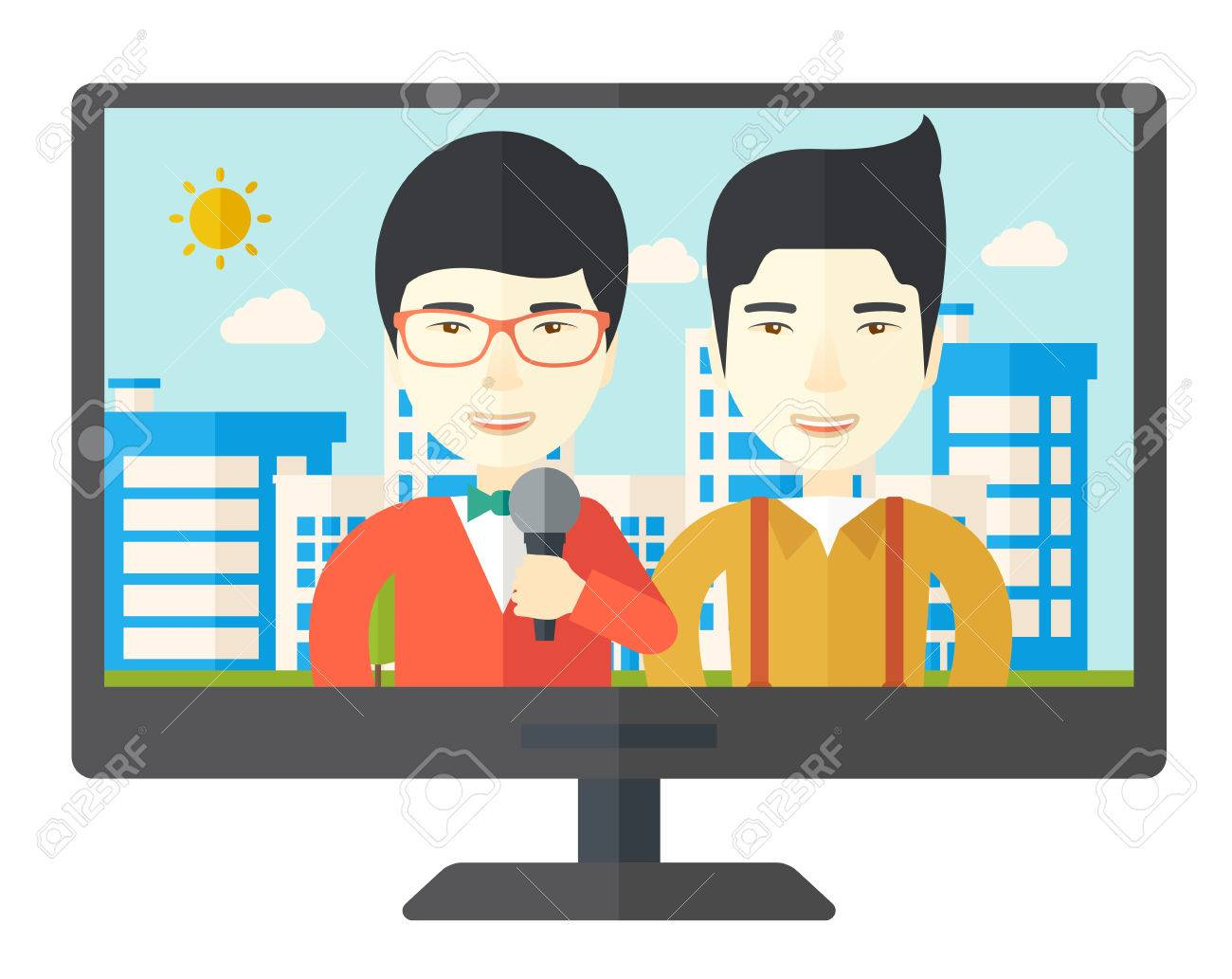 television set broadcasting the news an asian reporter television set broadcasting the news an asian reporter interviewing a man vector flat design illustration