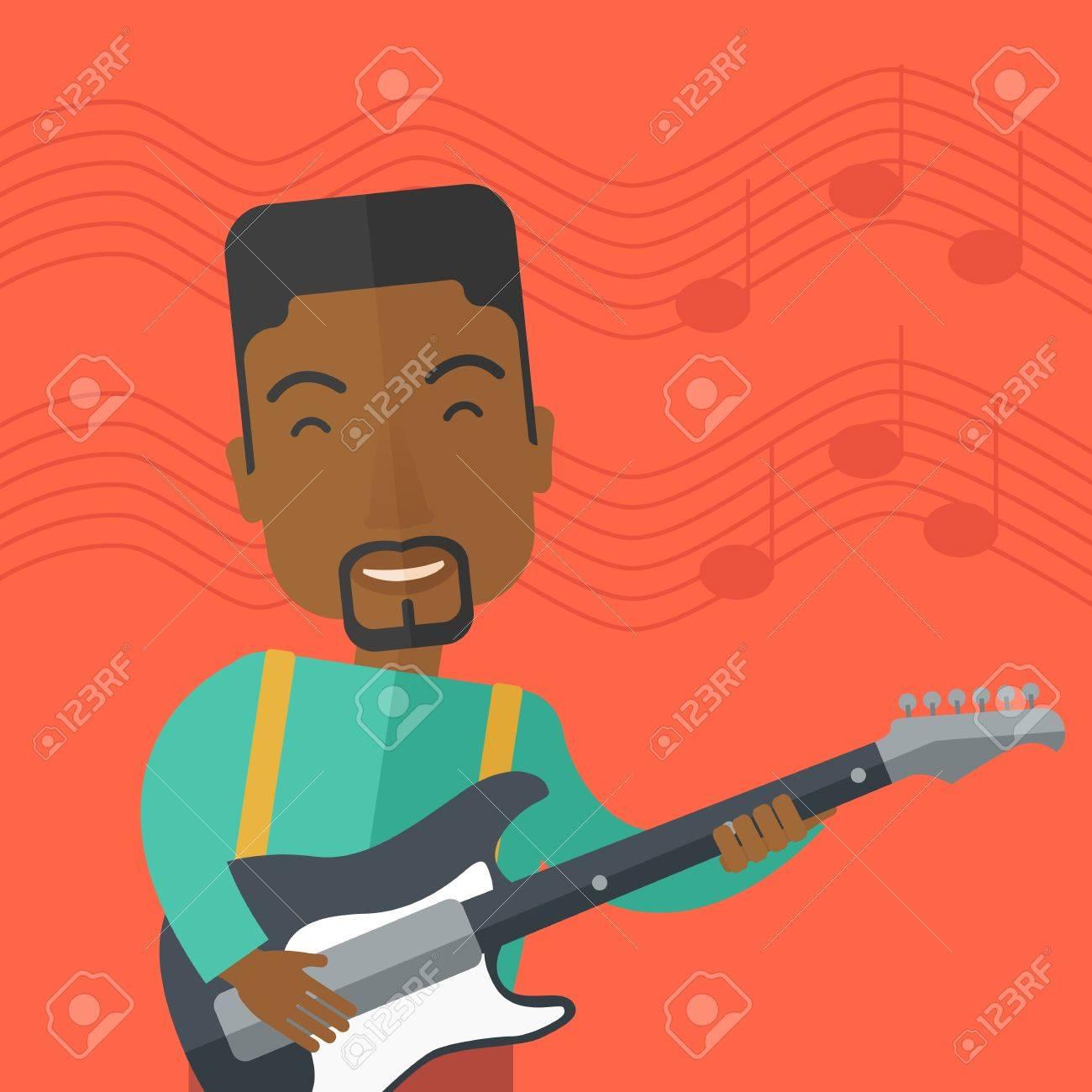 Ein Lächelnder African-American Musiker Elektrische Gitarre Vektor ...