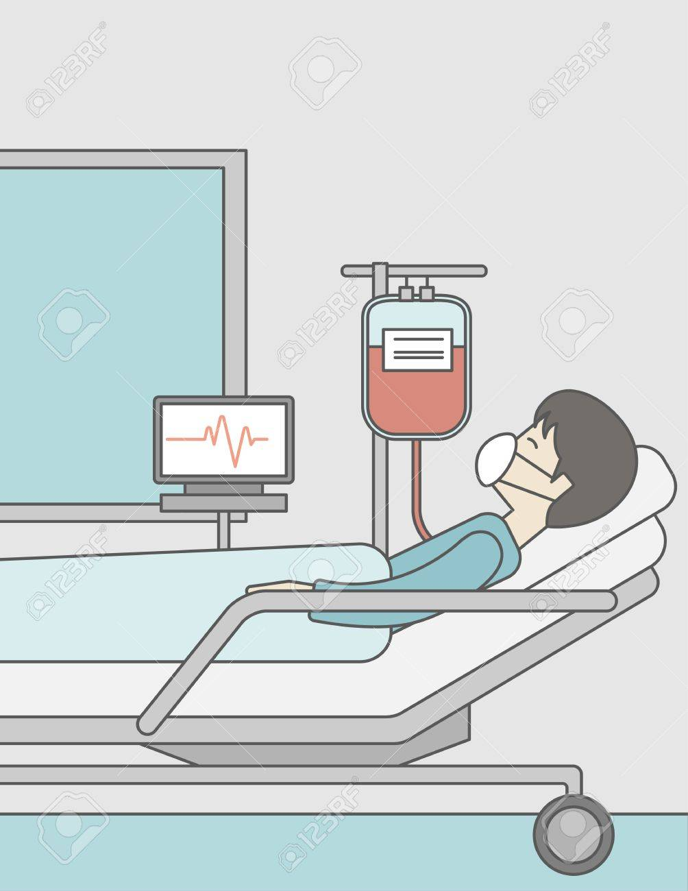 Furniture Design Royalty Rates an asian patient lying in hospital bed with heart rate monitor
