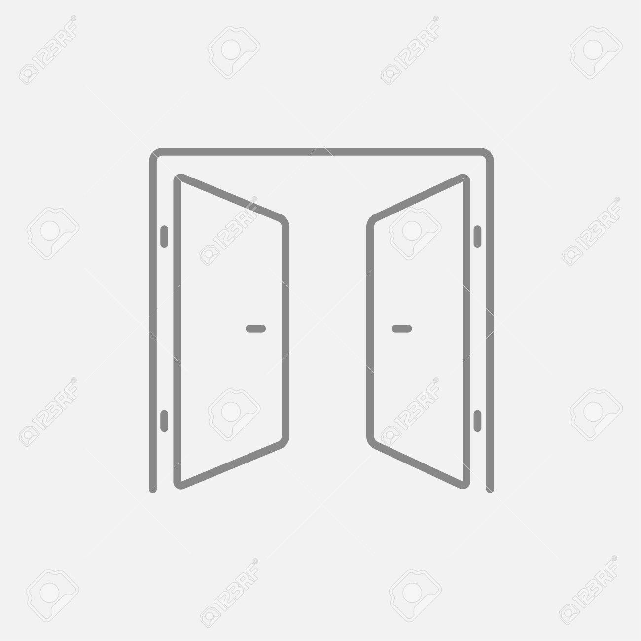 Open doors line icon for web, mobile and infographics. Vector dark grey icon isolated on light grey background. Banque d'images - 48254373