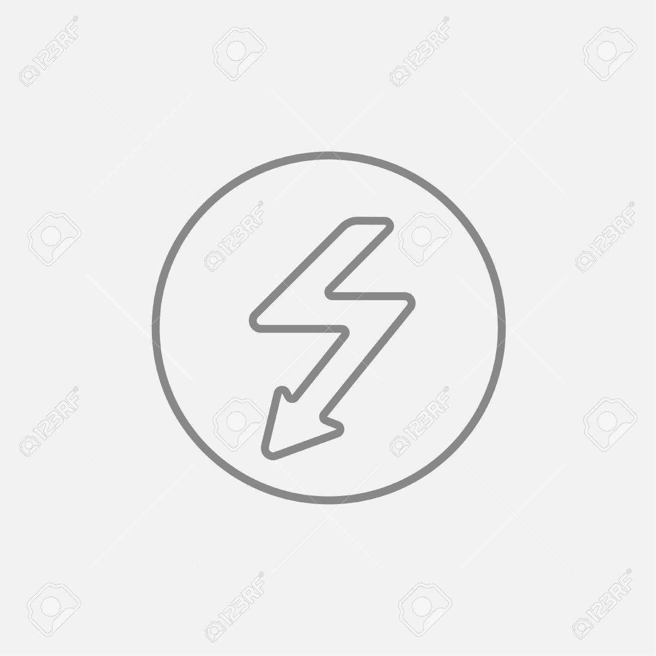 Lightning arrow going down inside circle line icon for web, mobile