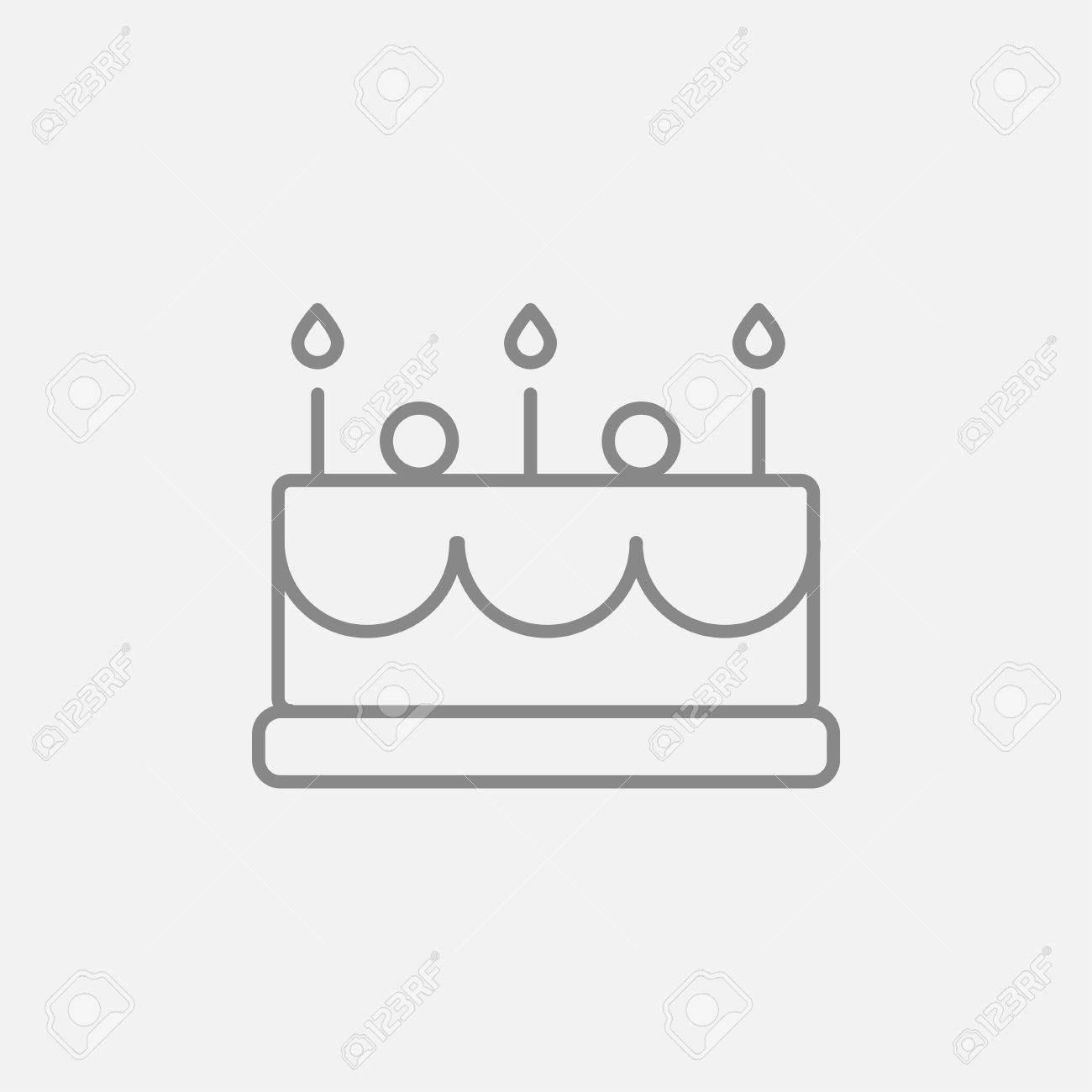 Birthday Cake With Candles Line Icon For Web Mobile And