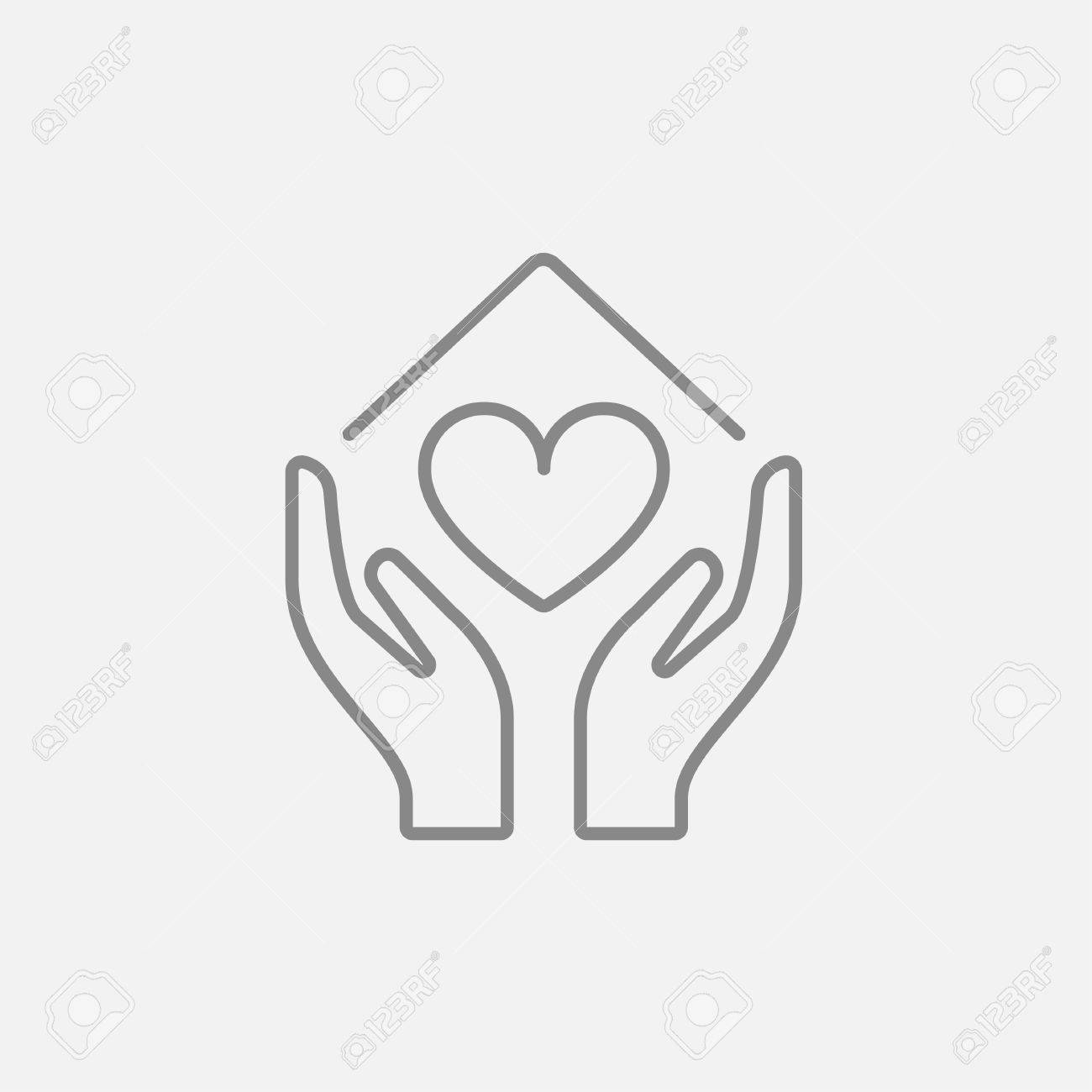 Hande Halten Haussymbol Mit Herzform Linie Symbol Fur Web Mobile