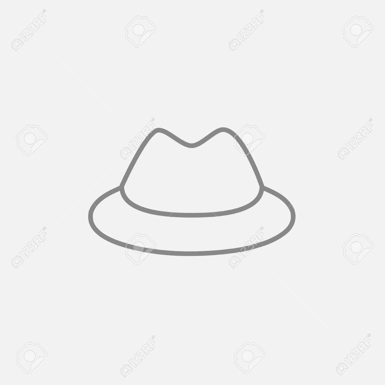 e0b7e9549ba5d Foto de archivo - Icono de línea de sombrero clásico para web