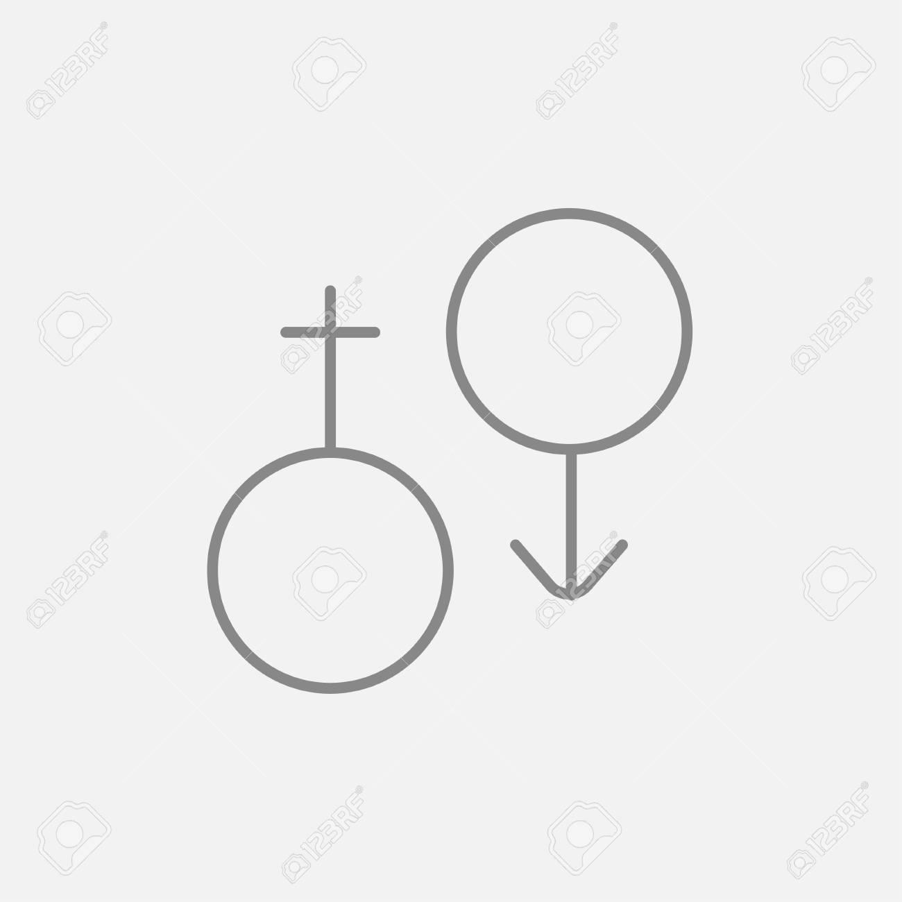 Icono De Línea De Símbolo Masculino Y Femenino Para Web, Móvil E ...