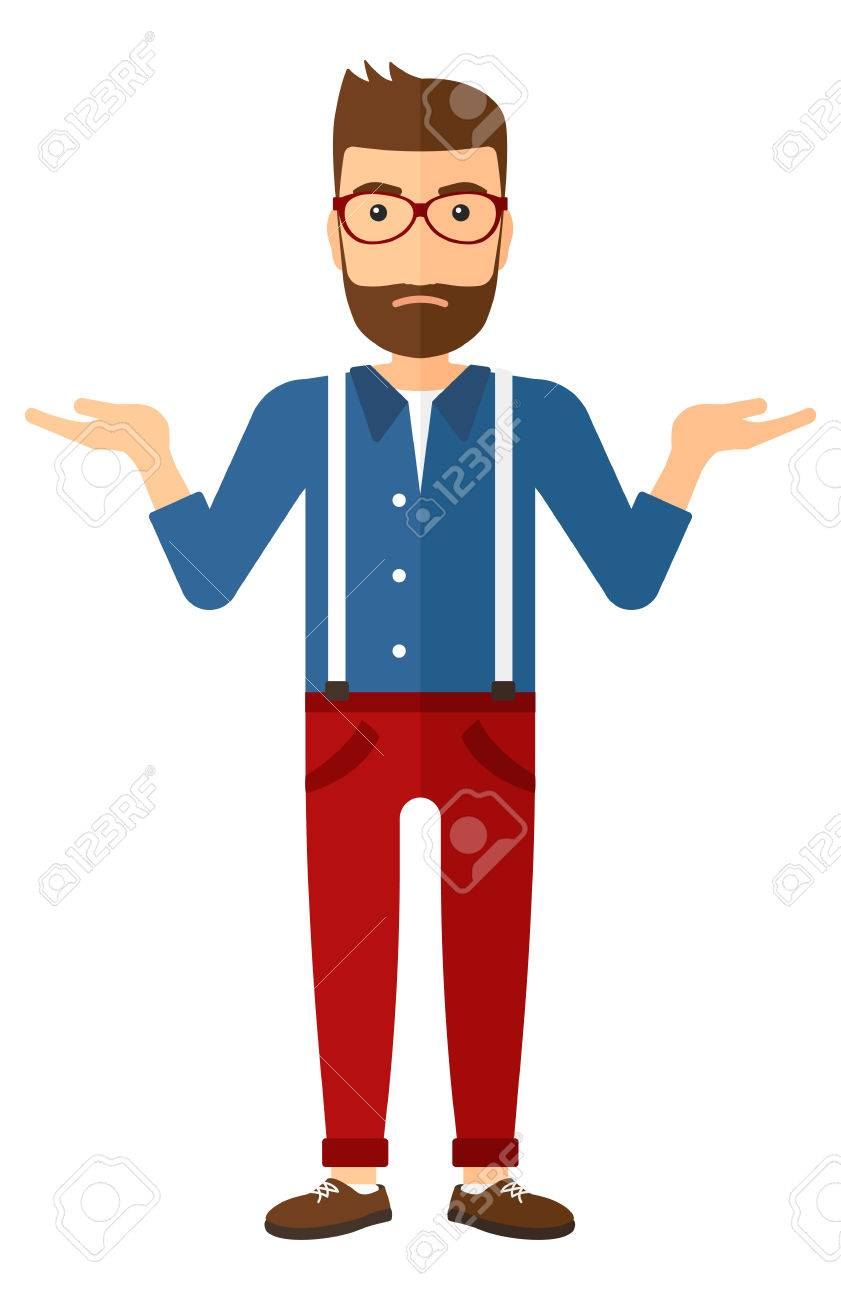 A young hipster man with the beard gesturing with open arms vector flat design illustration isolated on white background. Vertical layout. Banque d'images - 49127359
