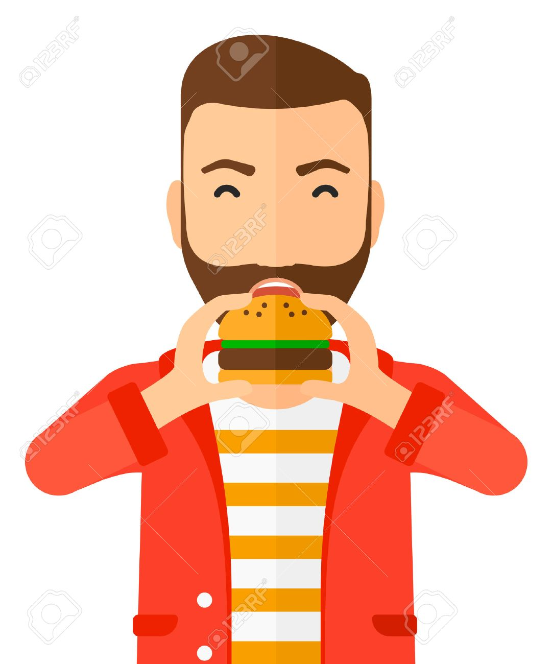 A happy hipster man eating hamburger vector flat design illustration isolated on white background. Vertical layout. Banque d'images - 49128020