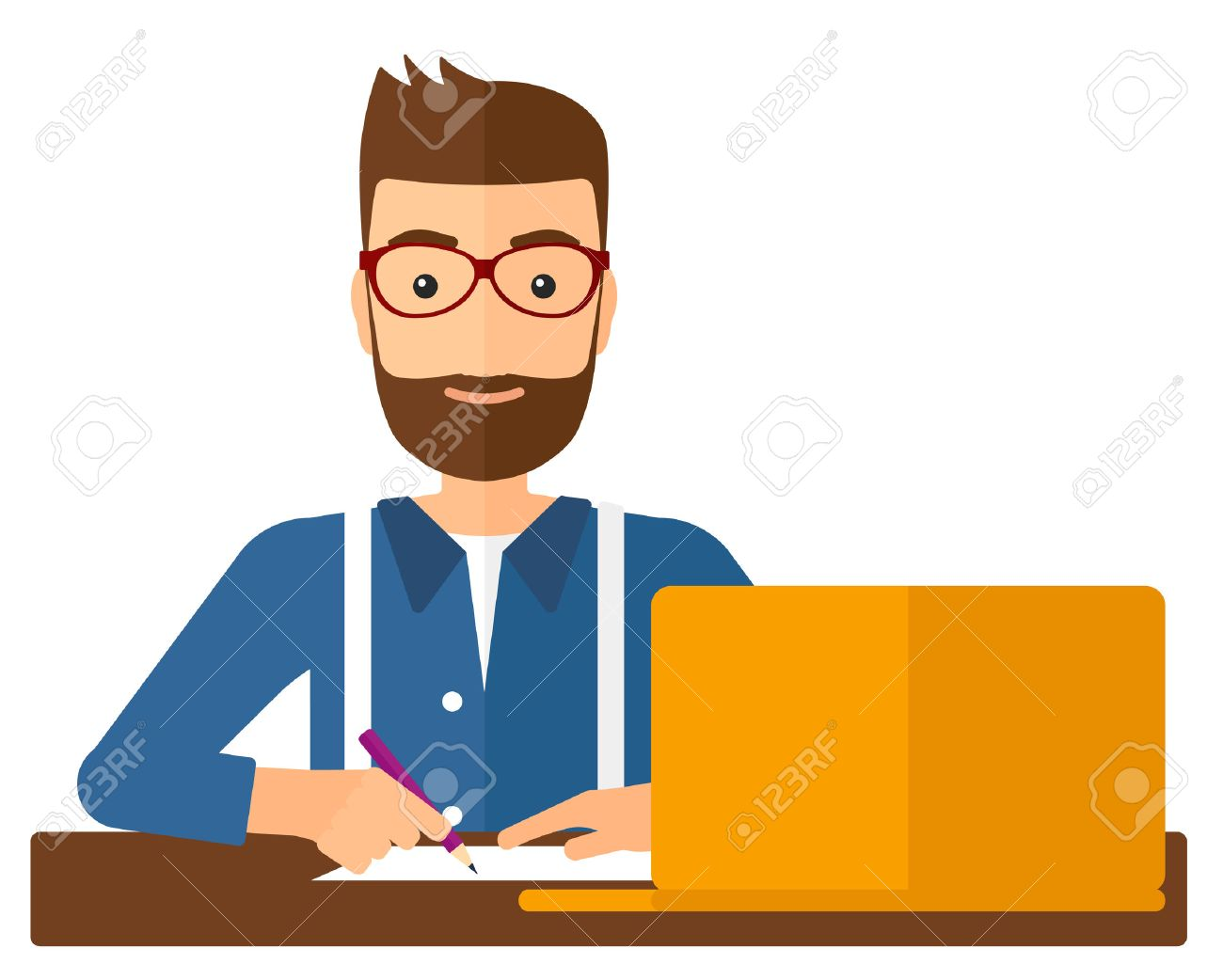 A hipster man with the beard studying sitting in front of laptop and taking some notes vector flat design illustration isolated on white background. Vertical layout. Banque d'images - 49128299