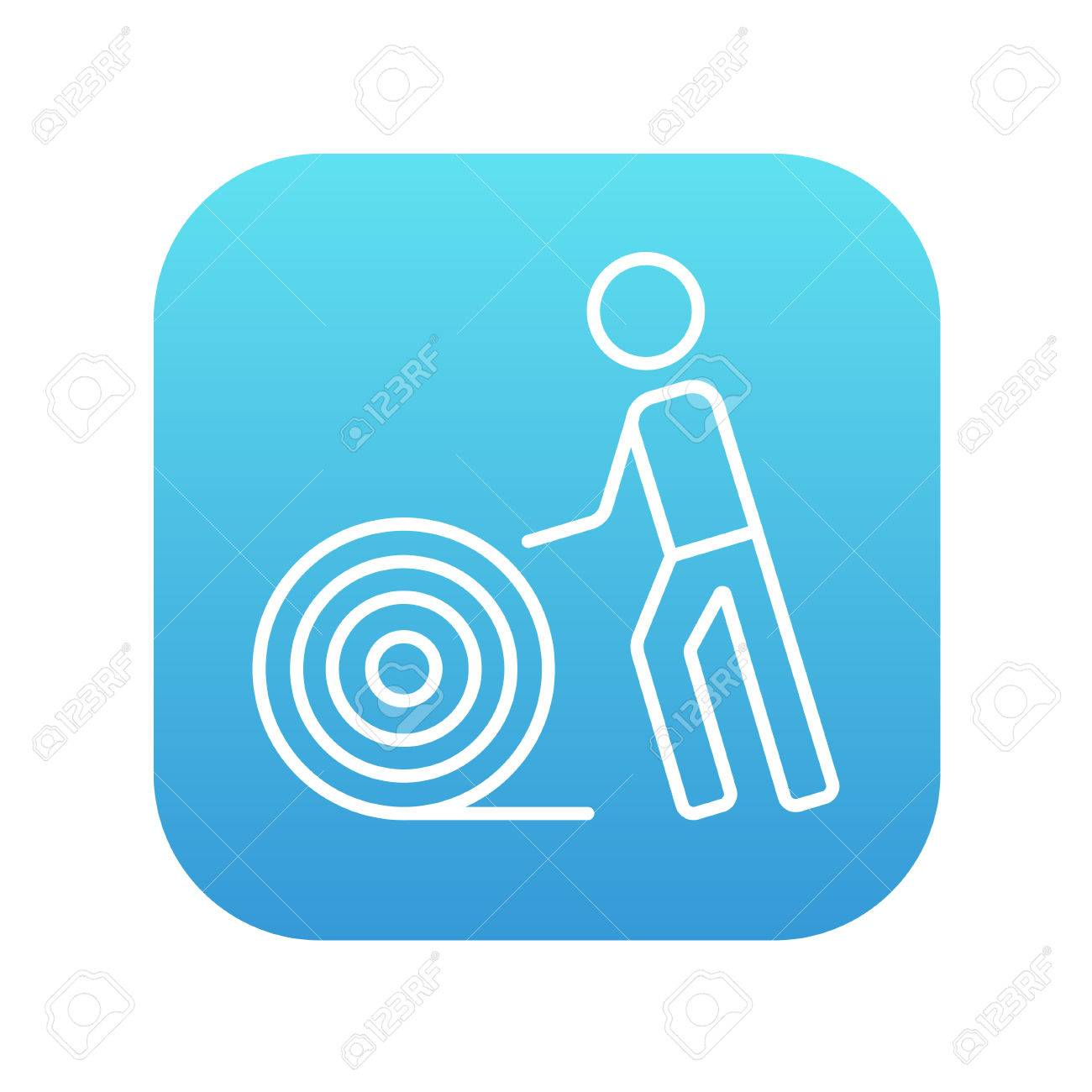 Man With Wire Spool Line Icon For Web, Mobile And Infographics ...
