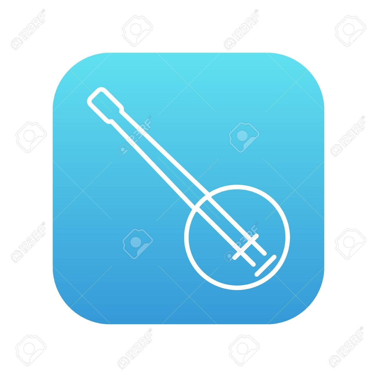 Banjo line icon for web, mobile and infographics. Vector white icon on the blue gradient square with rounded corners isolated on white background. - 49694494