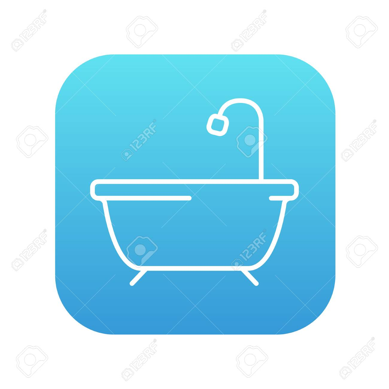 Bathtub With Shower Line Icon For Web, Mobile And Infographics ...