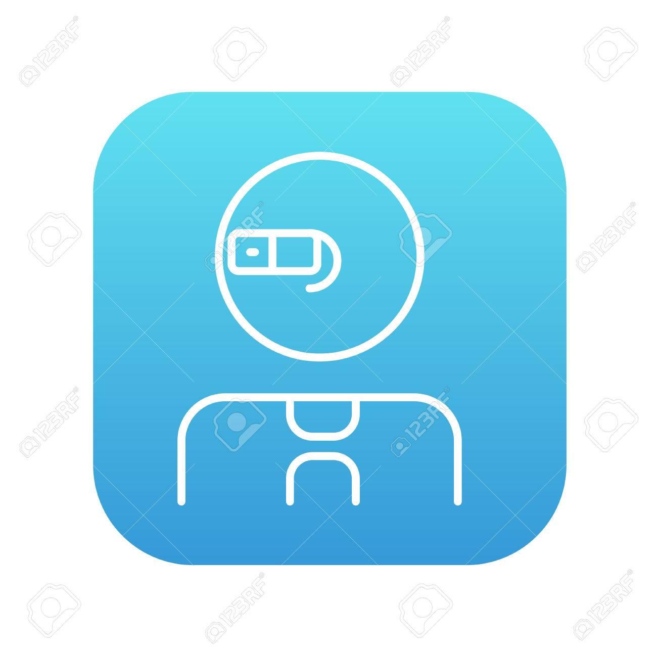 Le Bleu Blanc De Ligne Réalité Augmentée Icône Homme Et Carré En WebMobile Pour InfographieVecteur Sur Lunettes Dégradé ZOuPiTwkXl