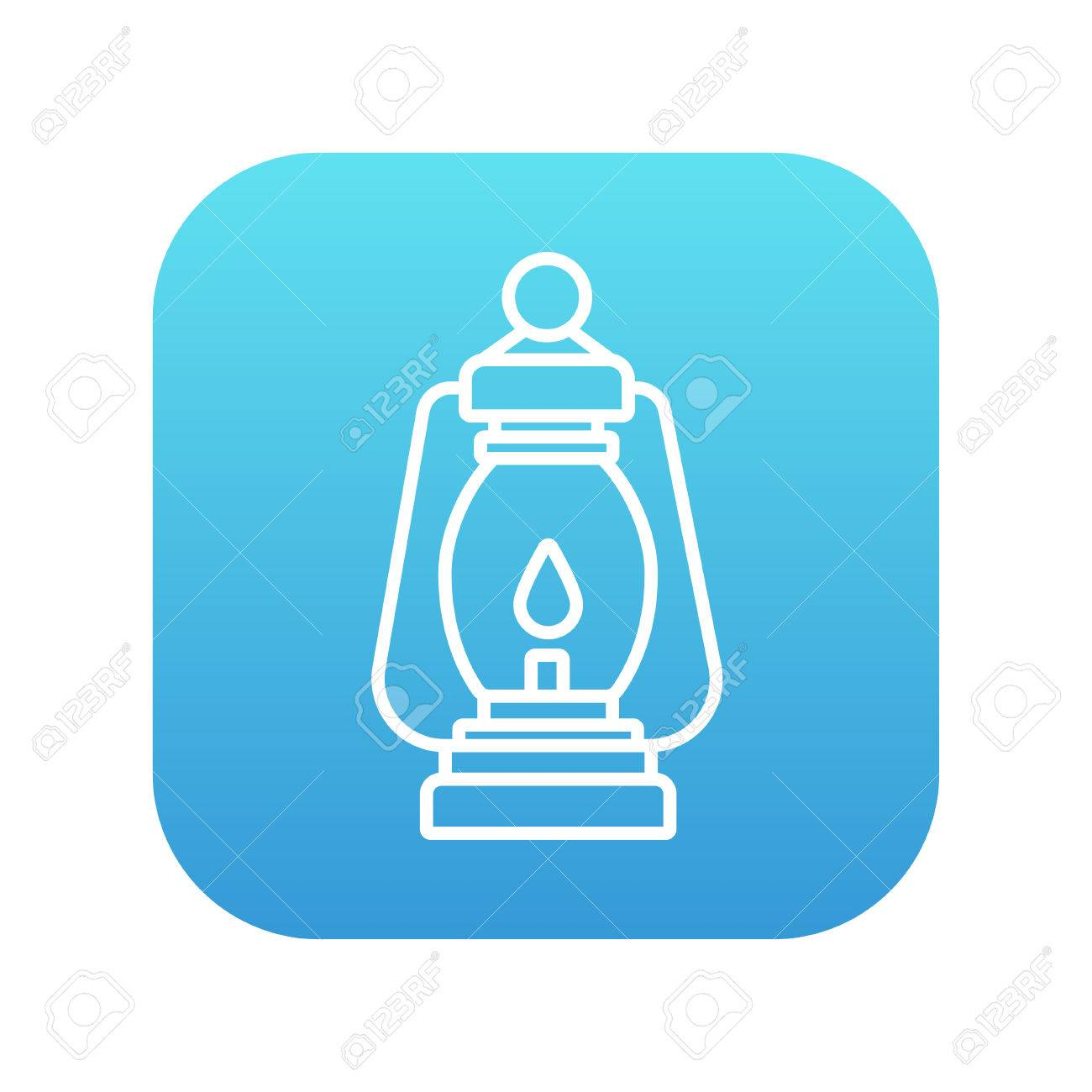 Camping Lantern Line Icon For Web Mobile And Infographics Vector White On The