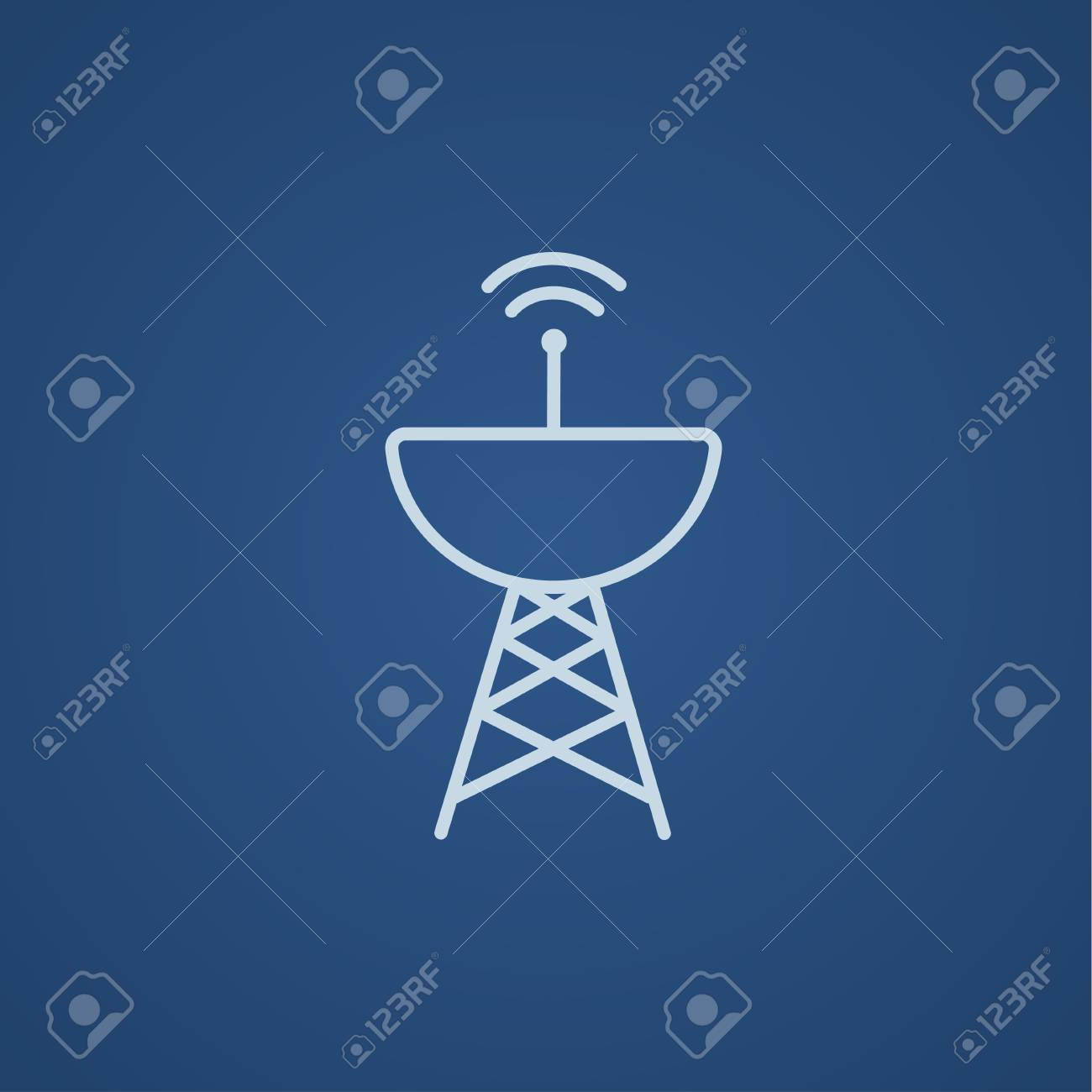 Radar satellite dish line icon for web, mobile and infographics