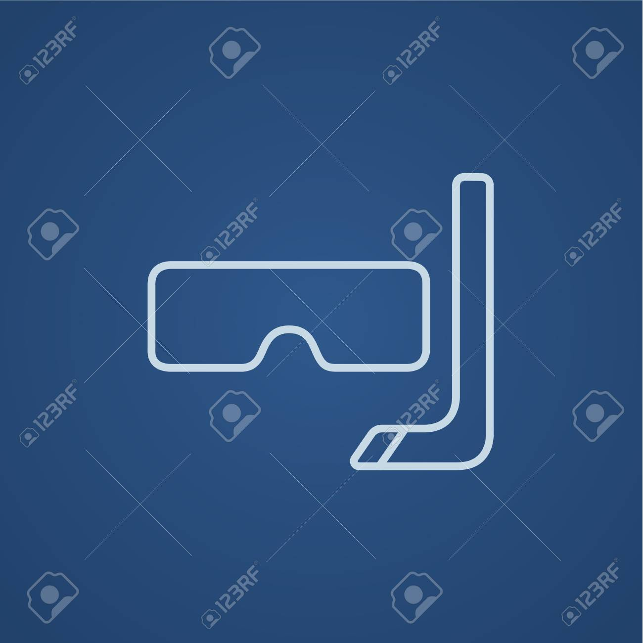 a1e4e91bf4cdf8 Duikbril en snorkel lijn pictogram voor web, mobiel en infographics. Vector  licht blauw pictogram