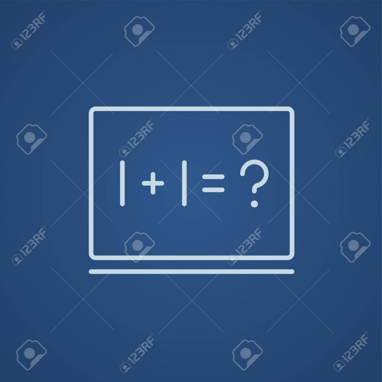 Maths Example Written On Blackboard Line Icon For Web, Mobile ...