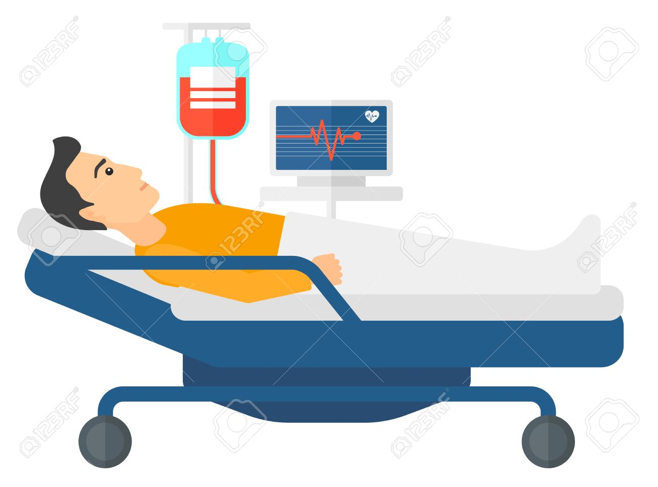 a patient lying in hospital bed with heart rate monitor while rh 123rf com patient hospital bed clipart hospital bed clipart images