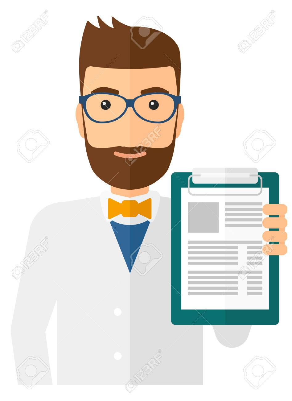 A doctor holding medical notepad vector flat design illustration isolated on white background. Vertical layout. - 50290958