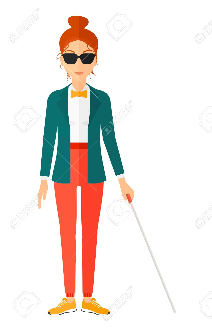 A blind woman in dark glasses standing with walking stick vector flat design illustration isolated on white background. Vertical layout. - 50291907