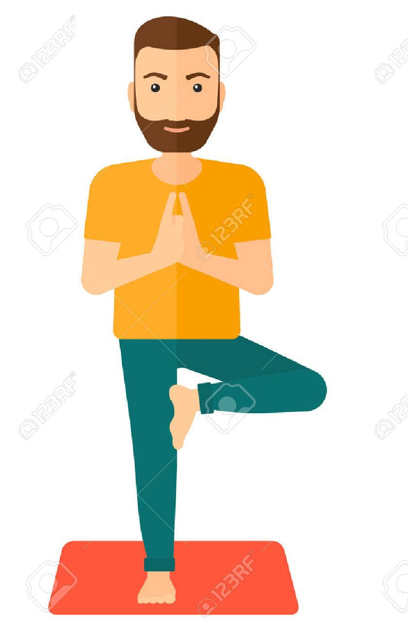 Man standing in yoga tree pose vector flat design illustration isolated on white background. Vertical layout. Banque d'images - 50356300