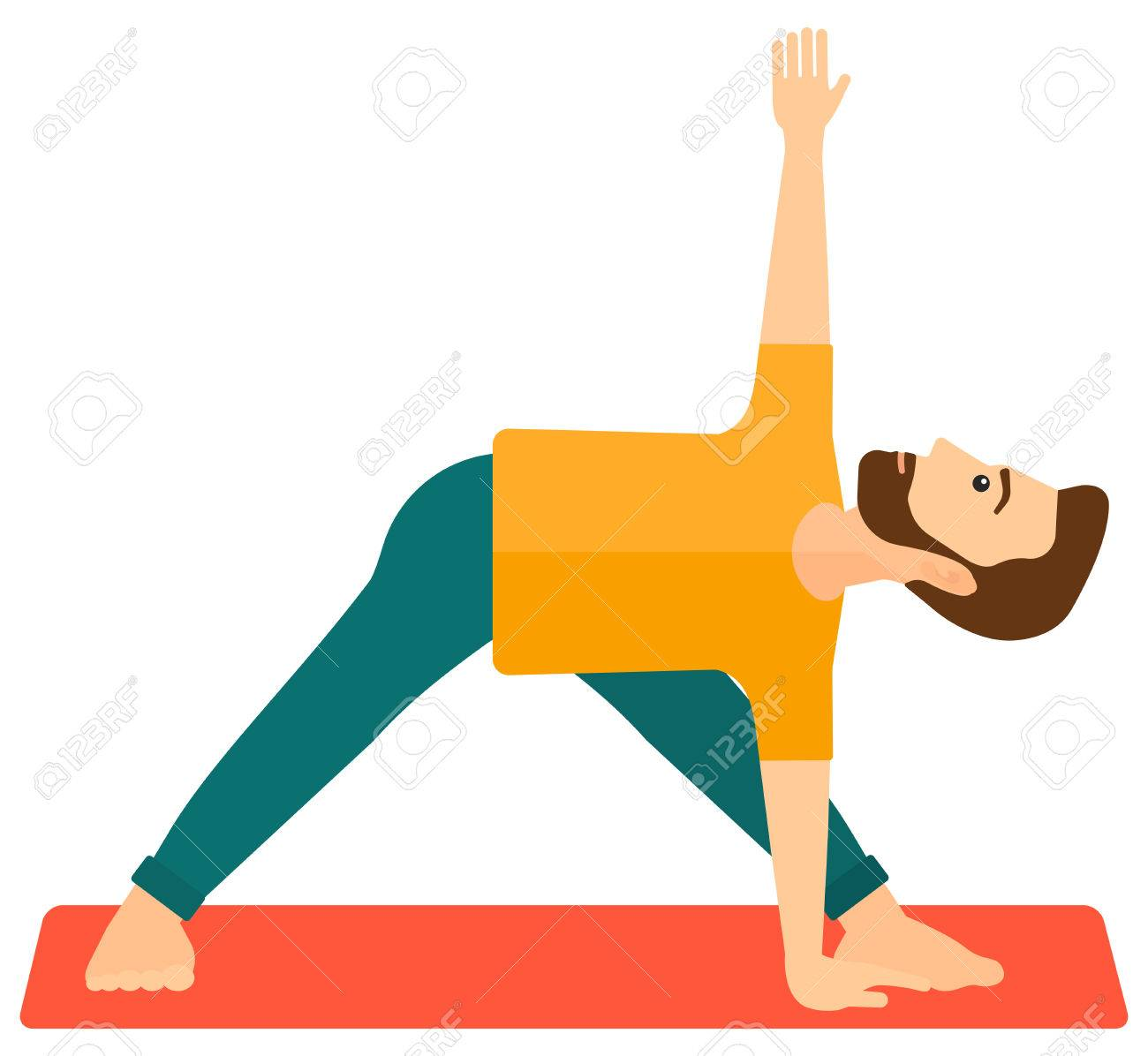 A man meditating in yoga triangle pose vector flat design illustration isolated on white background. Banque d'images - 50353002