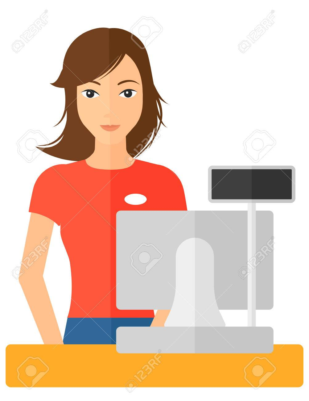 A saleslady standing at checkout vector flat design illustration isolated on white background. Banque d'images - 50361614
