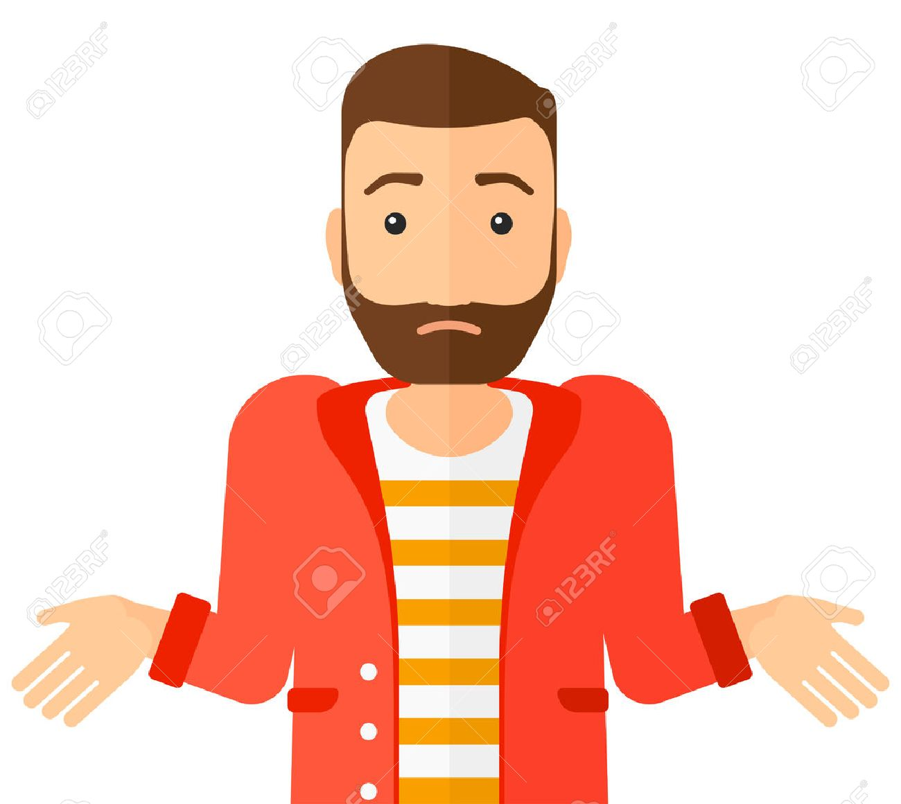Confused man shrugging his shoulders vector flat design illustration isolated on white background. Horizontal layout. Banque d'images - 50450113