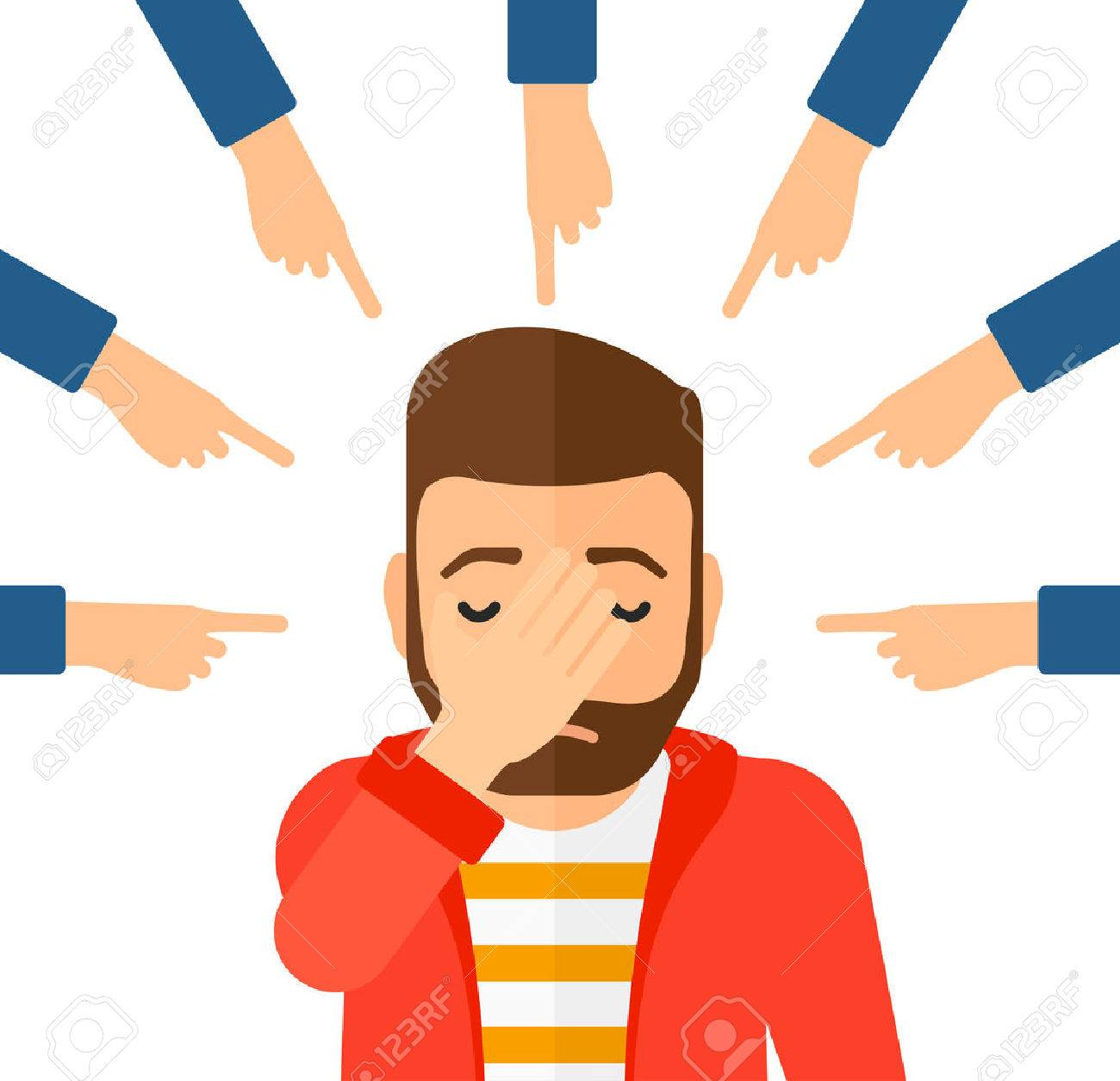 Guilty man looking down covering face with his hand and many fingers around pointing at him vector flat design illustration isolated on white background. Square layout. Banque d'images - 50450121