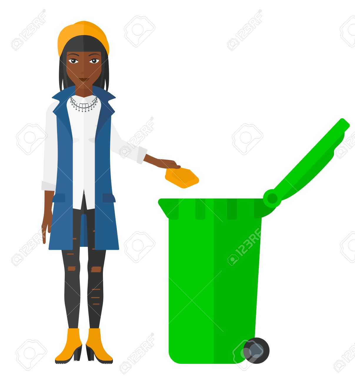 An african-american woman throwing a trash into a green bin vector flat design illustration isolated on white background. - 50707946