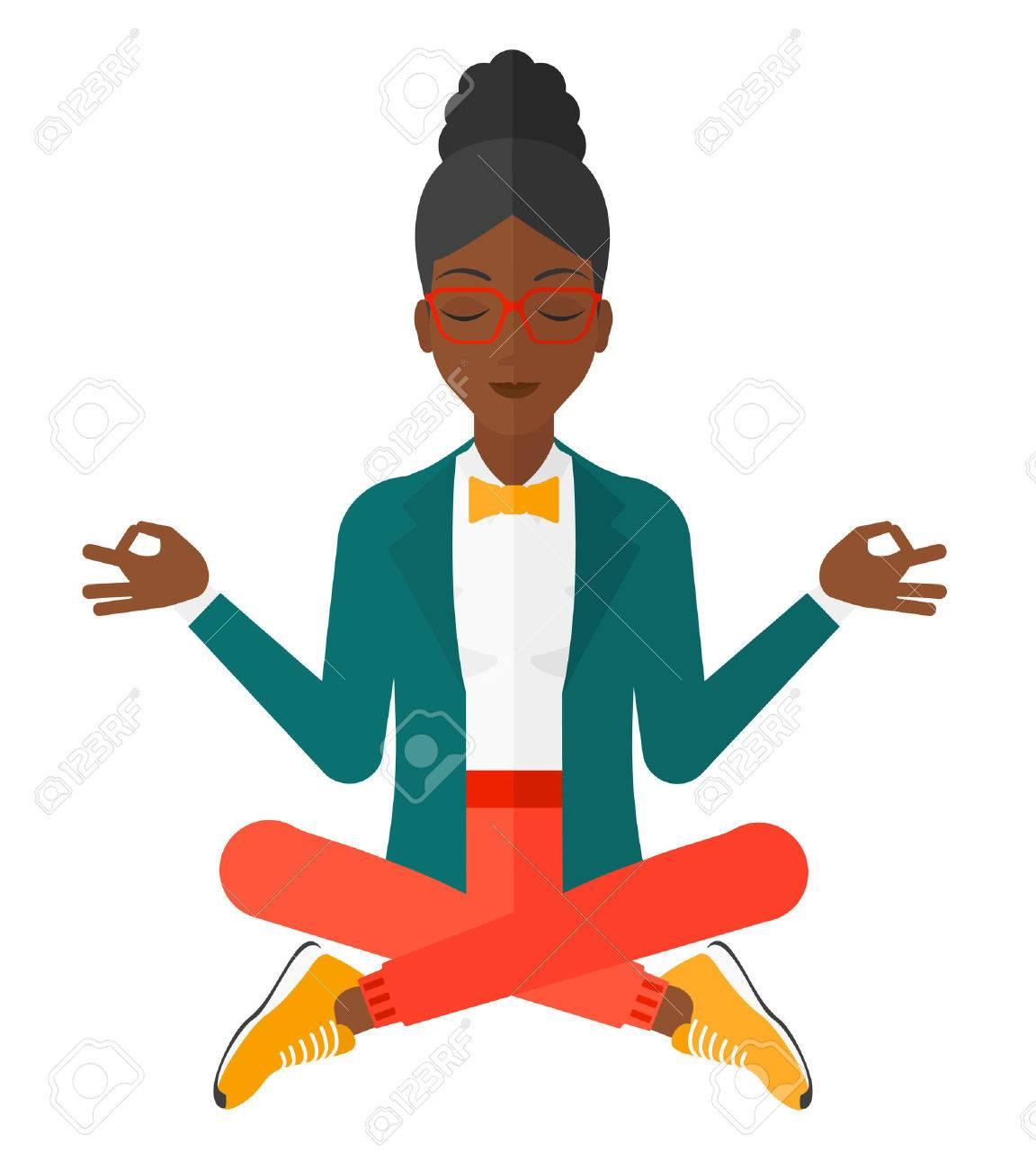 Une femme d'affaires à méditer dans lotus pose vecteur design plat illustration isolé sur fond blanc. Banque d'images - 50750581