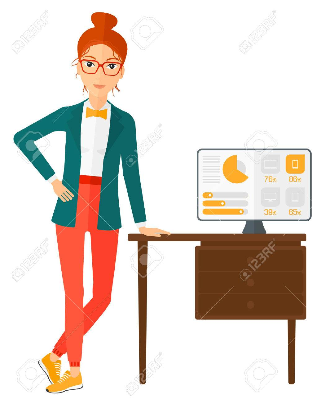 A woman leaning on a table with a computer monitor in office vector flat design illustration isolated on white background. - 50784502
