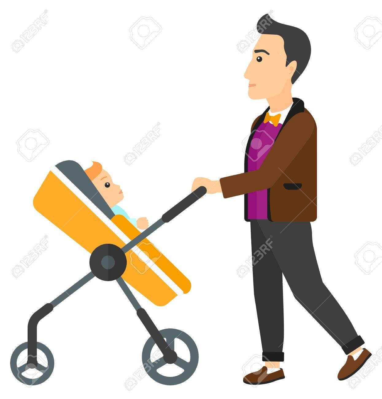 Padre con el bebé en cochecito. Padre joven empujando bebé en cochecito de niño con la botella de leche.