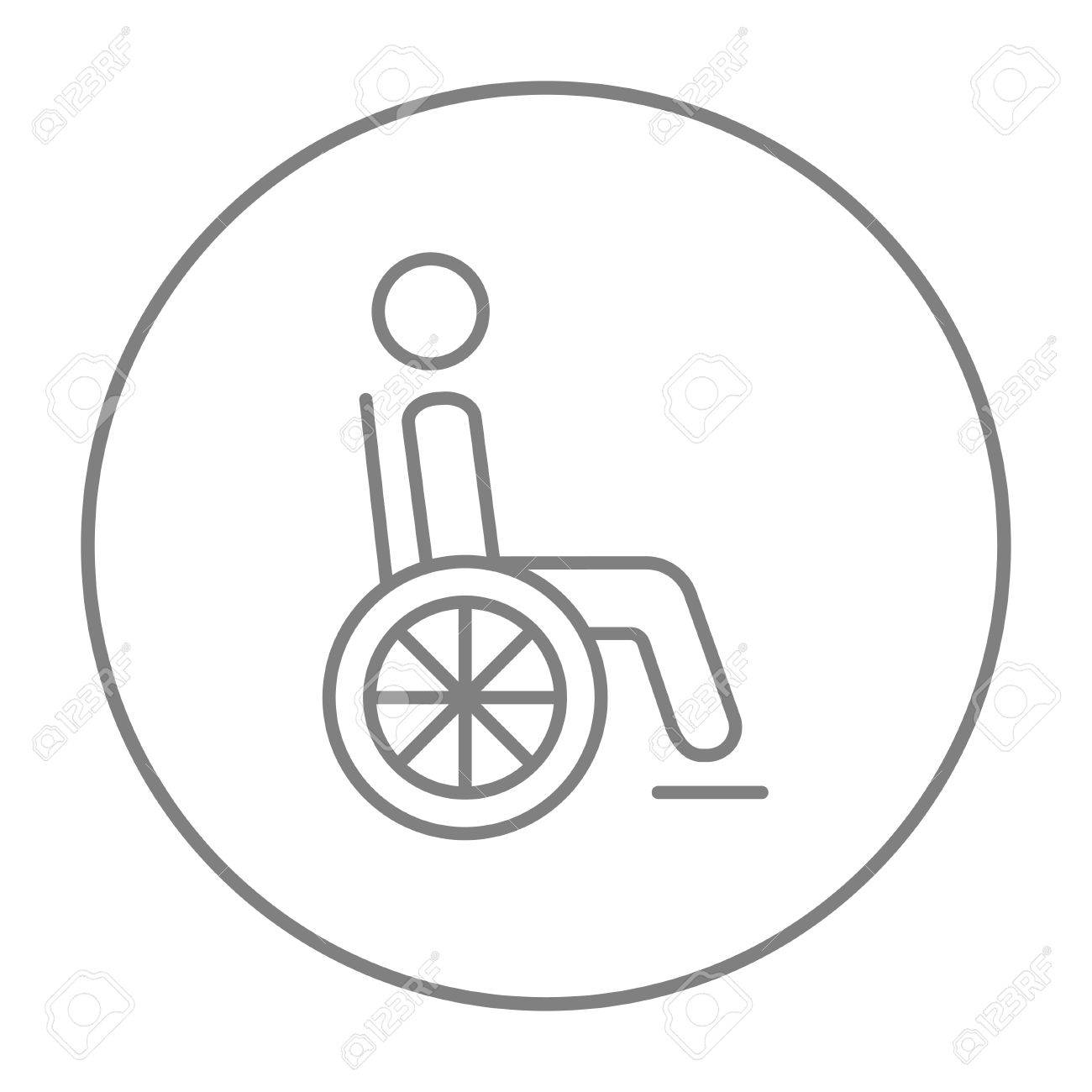 Disabled Person Sitting In The Wheelchair Line Icon For Web