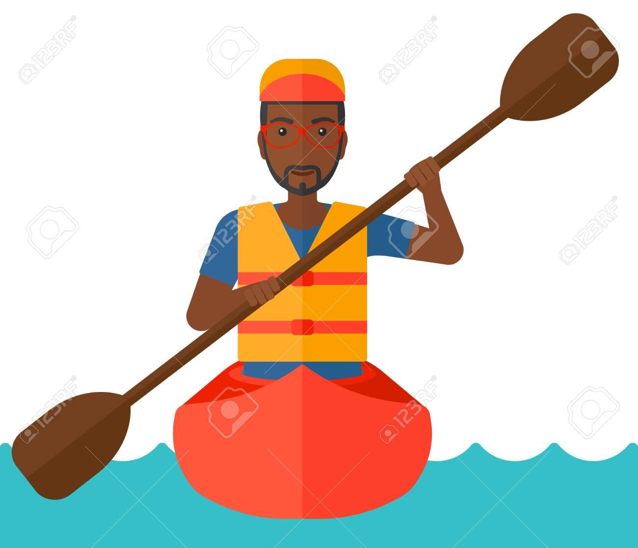 Man swinging oar