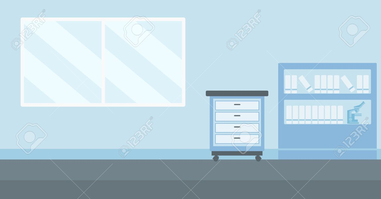 Arrière-plan de vecteur de bureau de médecin design plat illustration. Présentation horizontale. Banque d'images - 51505523