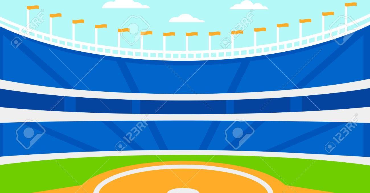 Background of baseball stadium vector flat design illustration. Horizontal layout. - 51505326