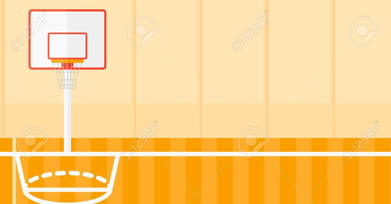 Arrière-plan de vecteur de terrain de basket design plat illustration. Présentation horizontale. Banque d'images - 51505328