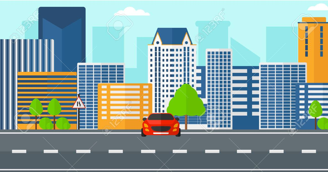 Background Of Modern City With A Car On Road Vector Flat Design Illustration Horizontal