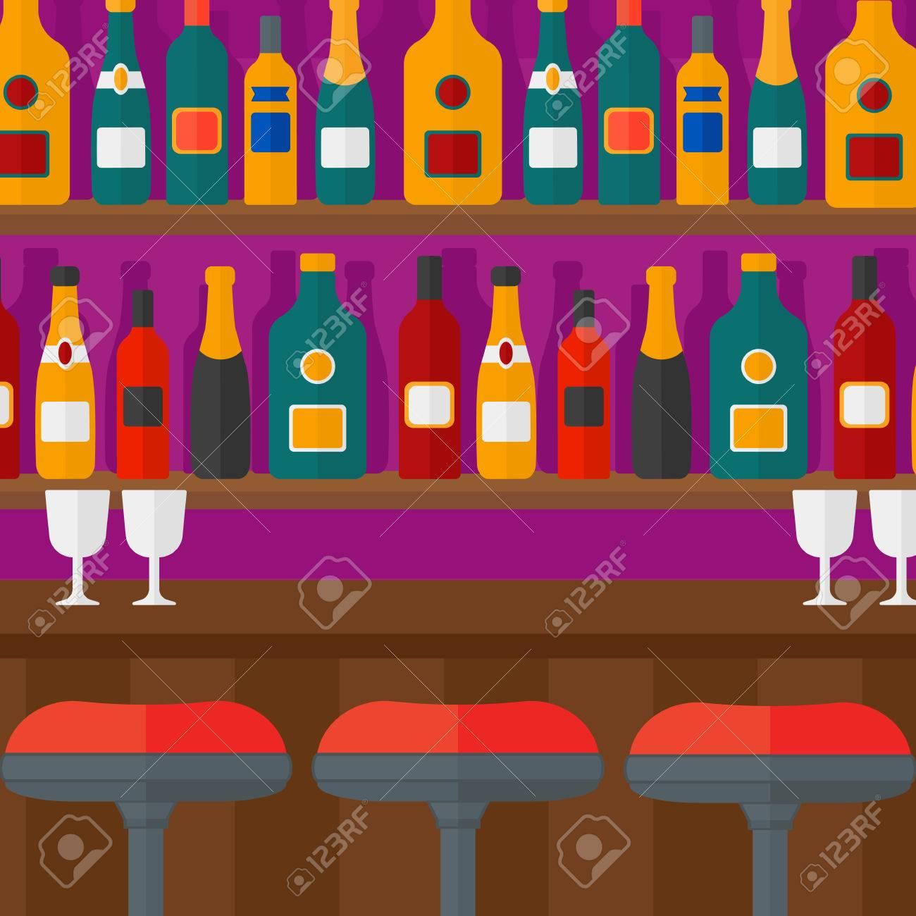 Hintergrund Der Theke Mit Hockern Und Alkoholische Getränke Auf ...