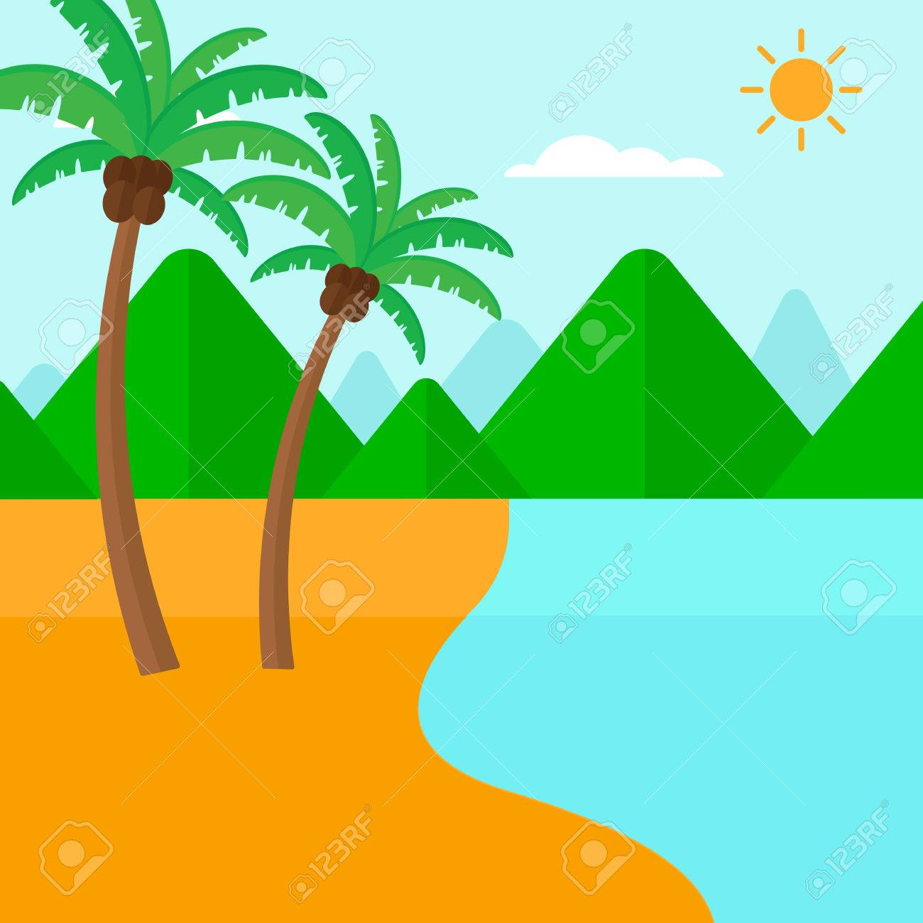 background of tropical beach with palm trees and the sea vector rh 123rf com victor beachem victor beecher